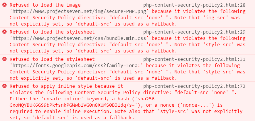 Content Security Policy Rule Violations
